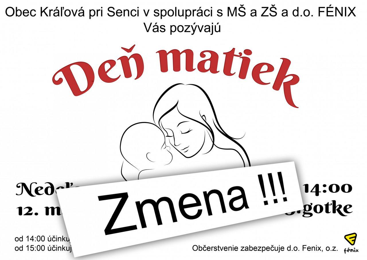 Deň matiek - zmena